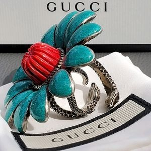 GUCCI Flower Ring sz 5.75, sterling silver